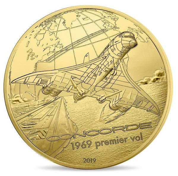 Cinquant'anni dal primo volo ed eccolo, il Concorde in moneta, decollare sull'oro coniato a Pessac
