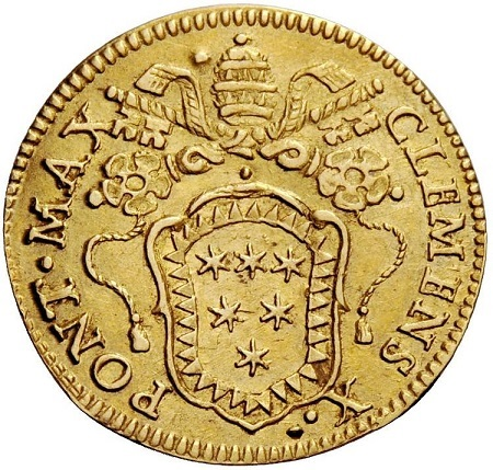 """Lo stemma Altieri con chiavi e tiara al dritto dello scudo d'oro """"mariano"""" senza data"""