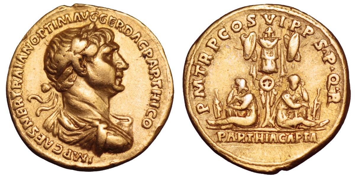 Quanto valeva un sesterzio ai tempi di Traiano? Un centesimo di aureo (questo es. è del 116, mm 19 per g 7,12)