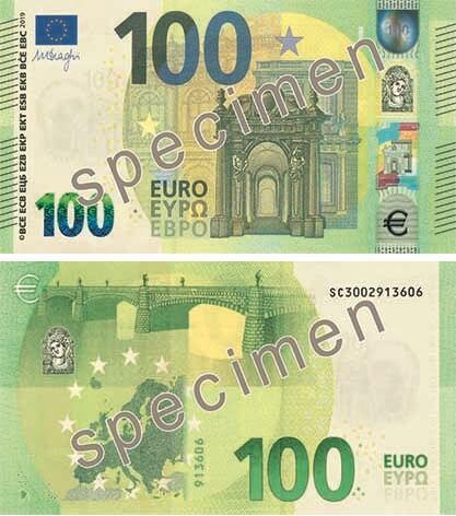 Specimen dei 100 e 200 euro serie Europa: il nuovo biglietto da 100