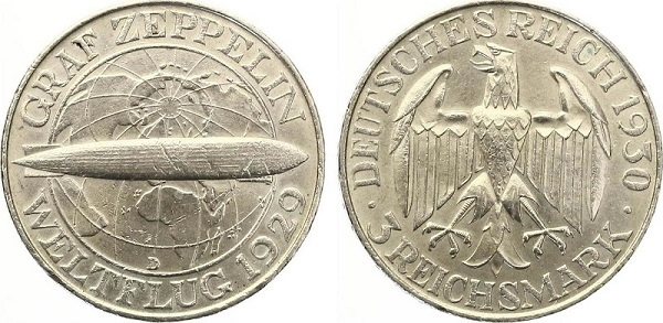 """Prima la gloria, con questa moneta da 3 marchi del 1930, poi il sogno infranto del conte Zeppelin con l'incendio dell'aeronave """"LZ-129 Hindenburg"""""""