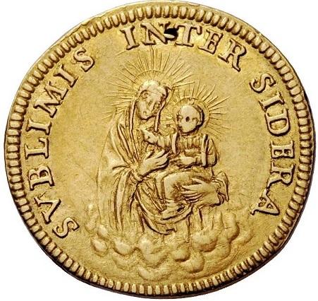Una invocazione mariana e una bella immagine della Madonna col Bambino al rovescio della moneta, coniata anche sotto Innocenzo XI