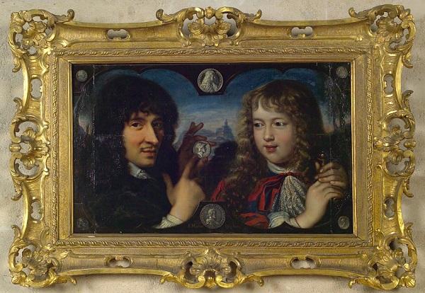 Il famoso dipinto in cui Jean Warin mostra un'antica moneta a Luigi XIV bambino