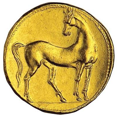 Si nota tutta l'abilità degli incisori cartaginesi nello slanciato cavallo al rovescio del tridramma coniato a ridosso della Prima guerra punica