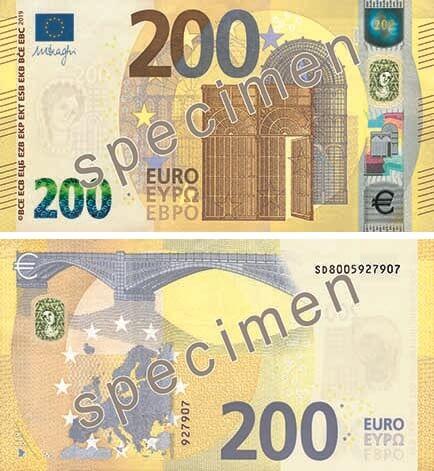 Specimen dei 100 e 200 euro serie Europa: il nuovo biglietto da 200