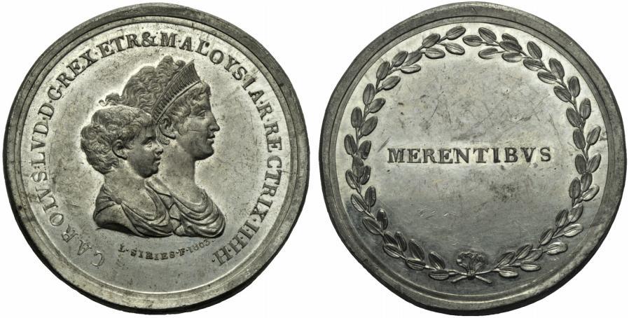 Medaglia in stagno (mm 47,0, g 36,2) del 1803 a nome di Carlo Ludovico con reggenza di Maria Luigia
