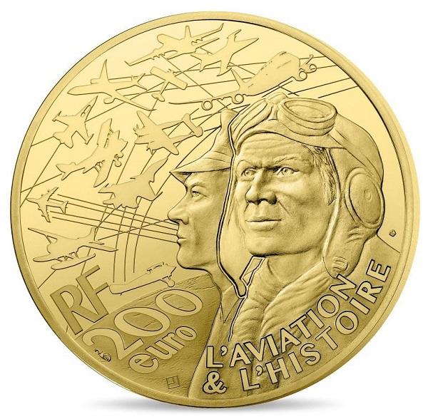 E' comune a tutte le  monete della serie il dritto con i profili di due aviatori e le sagome di una serie di velivoli che hanno fatto la storia