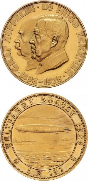 """Bella medaglia in oro (mm 36 per g 23, titolo 900) coniata nel 1929 per il primo volo del """"Graf Zeppelin"""""""