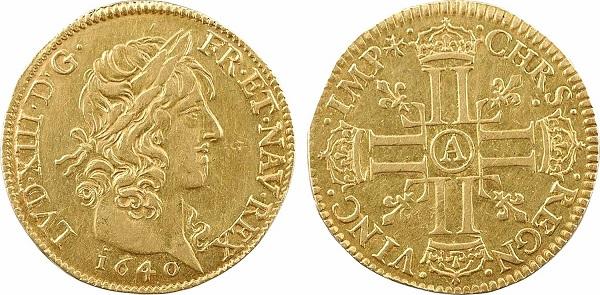 Luigi in oro coniato nel 1640 a nome di Luigi XIII su conii incisi da Jean Warin (mm 25,6 per gr 6,7)