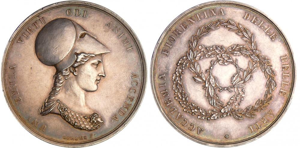 Periodo napoleonico, 1796-1815: medaglia in argento (mm 44,0, g 33,7) per l'Accademia Fiorentina delle Belle Arti