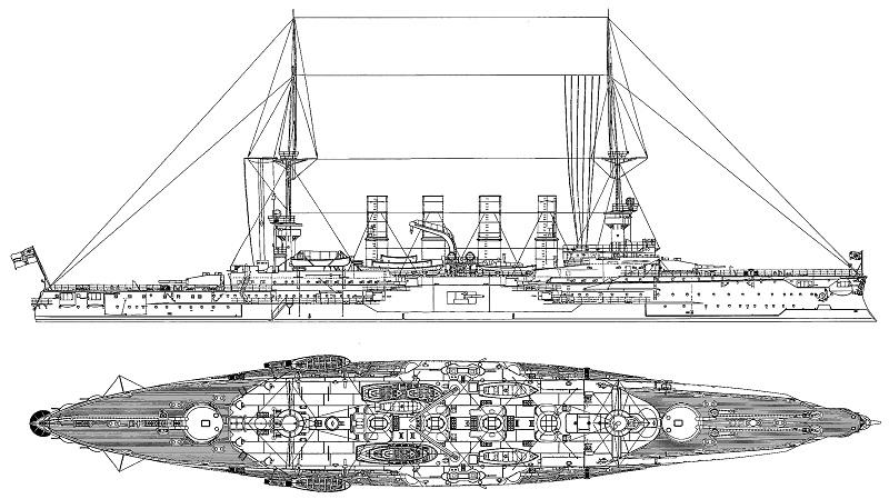 """Il progetto dell'incrociatore corazzato tedesco """"SMS Gneisenau"""" nella configurazione del 1908"""