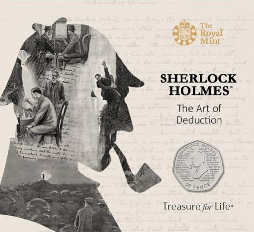 """Il folder della versione BU dei 50 pence dedicati dalla Royal Mint a Holmeds e """"all'arte della deduzione"""""""