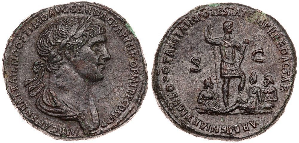 Uno splendido esempio di sesterzio in bronzo dell'epoca di Traiano (questo es. risale al 116-117, mm 33 per g 25,45)