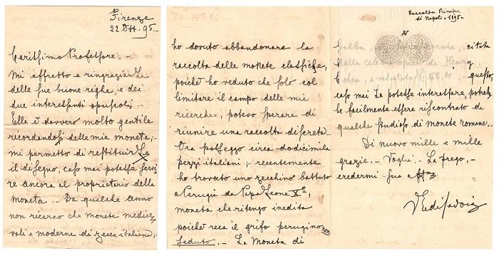 La posta del principe: le tre facciate della lettera spedita da Firenze a Città di Castello nell'ottobre del 1895 con allegato calco di una moneta in oro della zecca di Perugia