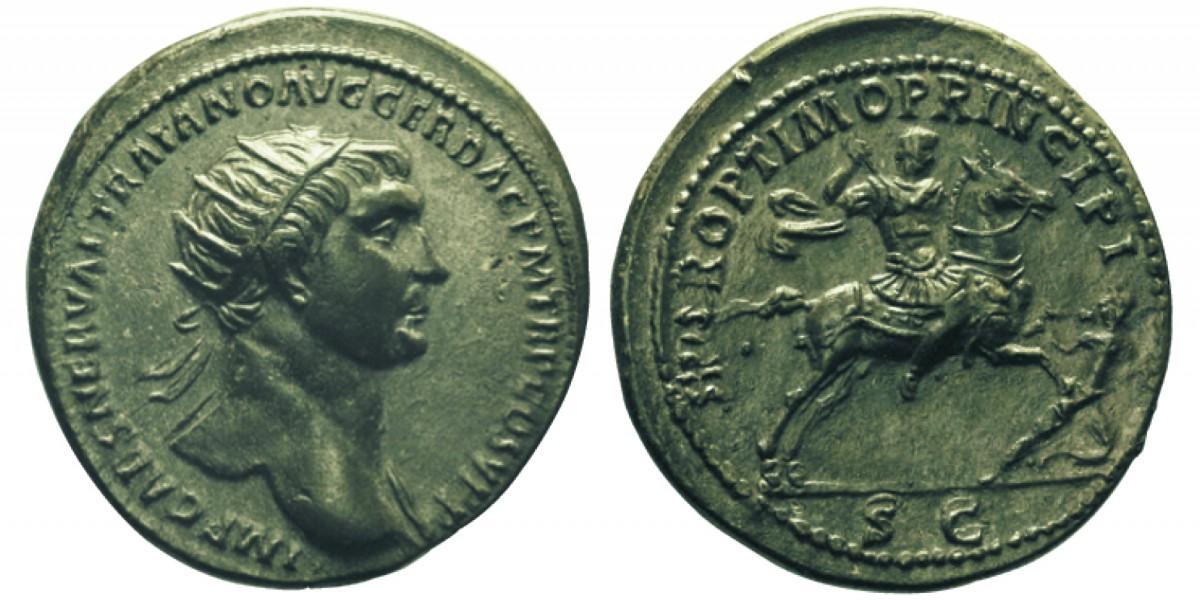 Quanto valeva un sesterzio ai tempi di Traiano? Due dupondi di bronzo (questo es. è del 105-107, mm 28 per g 13,54)