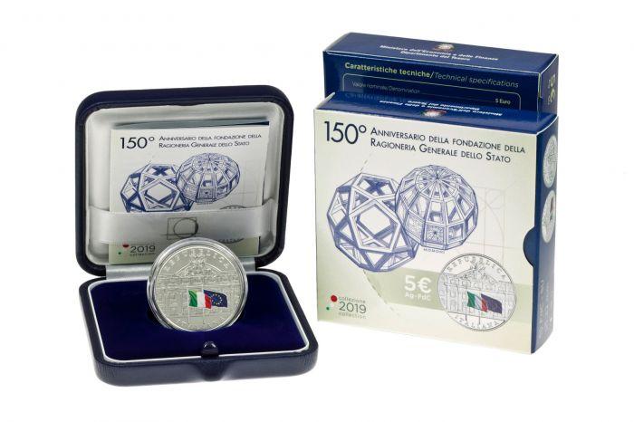 Uno dei due sold out IPZS dell'ultimo mese: la 5 euro in argento Fdc per i 150 anni della Ragioneria generale dello Stato