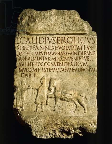 Epigrafe funeraria da Isernia su cui è riportato nei dettagli il conto che l'oste e albergatore presenta al suo cliente