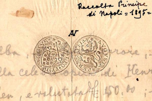 """La posta del principe: velina con calco del ducato di Leone X, zecca di Perugia, della """"Raccolta Principe di Napoli"""""""