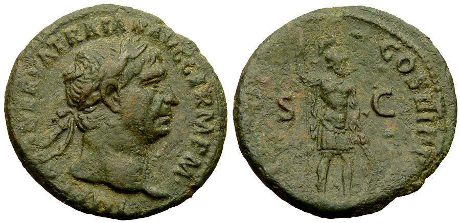 Quanto valeva un sesterzio ai tempi di Traiano? Quattro assi di bronzo (questo es. è del 99-100, mm 27 per g 11,41)