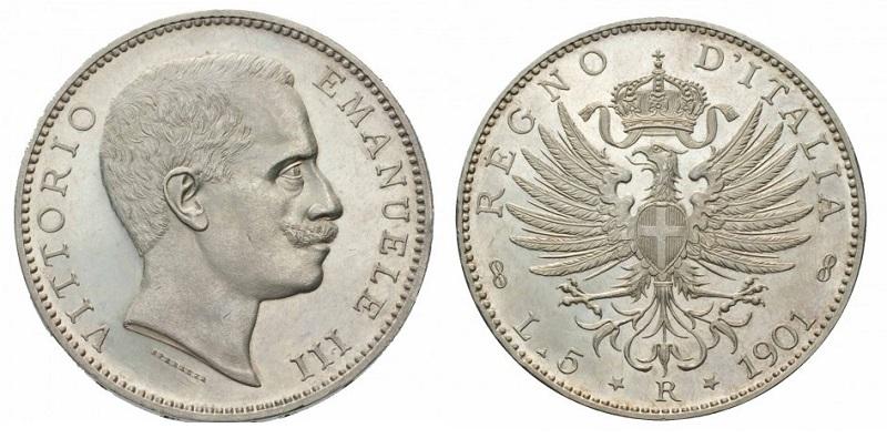 Da principe a sovrano: Vittorio Emanuele III su quella che è probabilmente la moneta simbolo del suo regno, le rarissime 5 lire del 1901