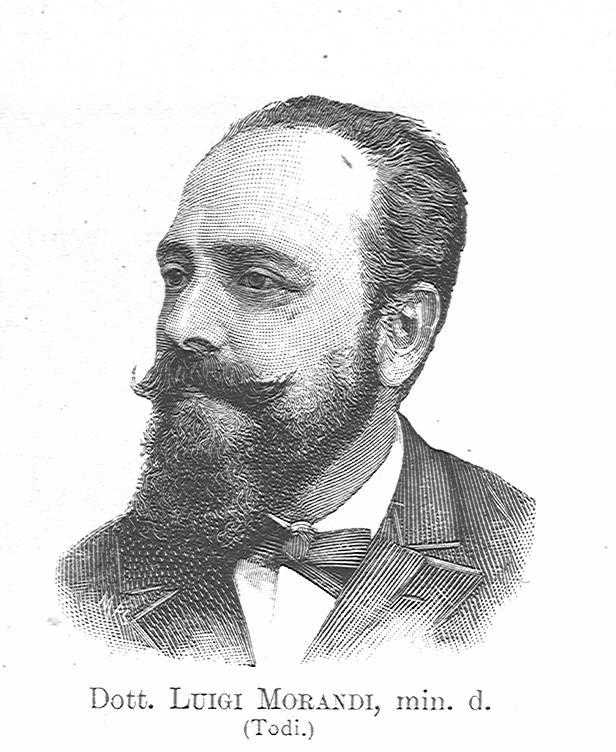 Incisione con ritratto del professor Luigi Morandi, deputato e poi senatore del Regno d'Italia, destinatario della lettera