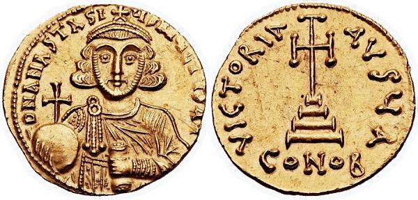 Solido di Anastasio II. Oro, gr 4,46; mm 20; h 6