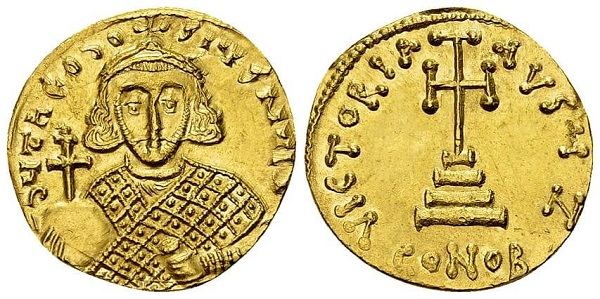 Solido di Teodosio III. Oro, gr 4,39; mm 20; h 6