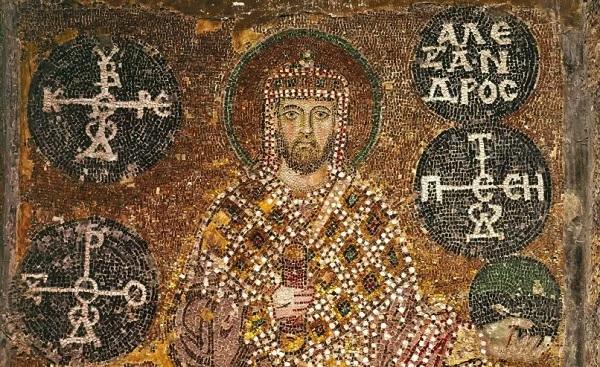 L'imperatore Alessandro in abiti cerimoniali, mosaico del secolo X. Istanbul, Santa Sofia