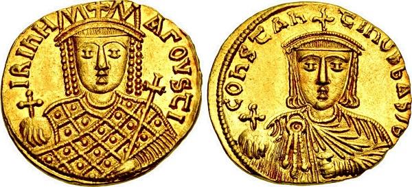 Solido di Costantino VI e Irene. Oro, gr 4,44; mm 19,5; h 6