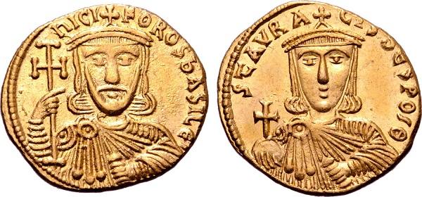 Solido di Niceforo I (nel R/ il figlio Stauracio). Oro, gr 4,43; mm 20; h 6