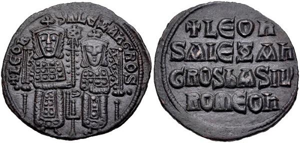 Follis di Leone VI con il fratello Alessandro. Bronzo, gr 6,46; mm 26; h 5