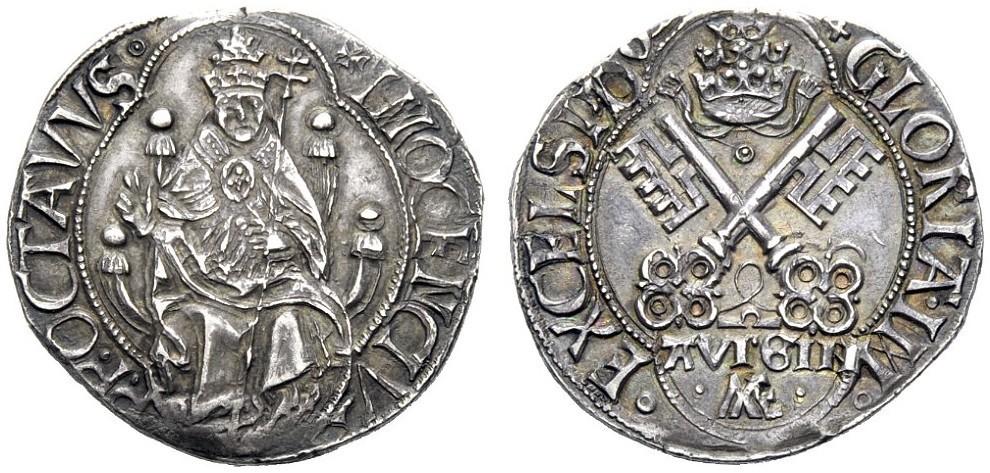 Il multiplo da tre grossi avignonesi da considerare il prototipo dei testoni papali