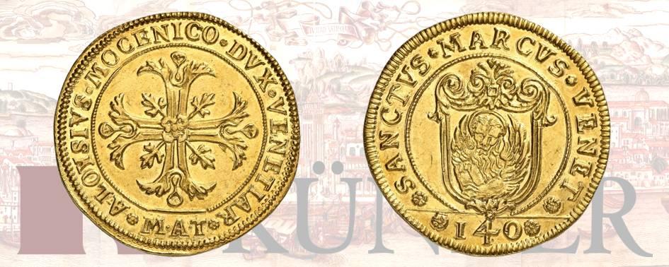Alvise IV Mocenigo, 1763-1778. Multiplo da 12 zecchini dai conii dello scudo della croce (140 soldi) ND. Dall'asta Kuenker 324 (27 giugno 2019), numero 3185