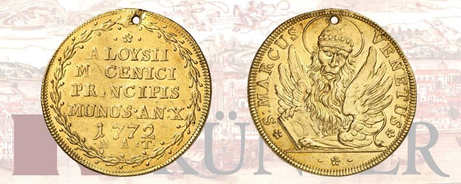 Alvise IV Mocenigo, 1763-1778. Osella d'oro di 4 zecchini, anno 10 (1772). Dall'asta Kuenker 324 (27 giugno 2019), numero 3186