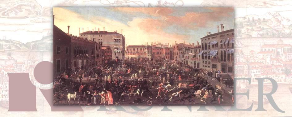 """""""Corrida al Campo San Polo durante il Carnevale di Venezia"""" di Joseph Heintz il Giovane, dipinto del 1646"""