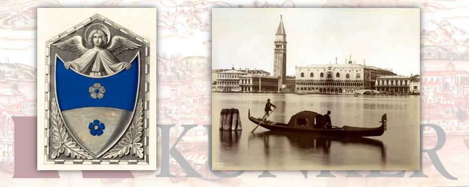 A sinistra blasone dei Mocenigo, a destra fotografia di Carlo Naya (1816-1882)