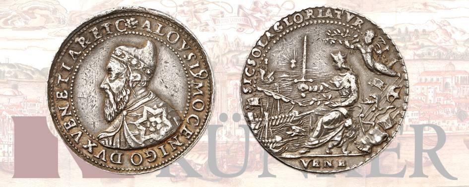 Alvise I Mocenigo, 1570-1577) Medaglia d'argento, non firmata, per la sconfitta della flotta turca a Lepanto. Dall'asta Kuenker 322 (24/25 giugno 2019), numero 1635