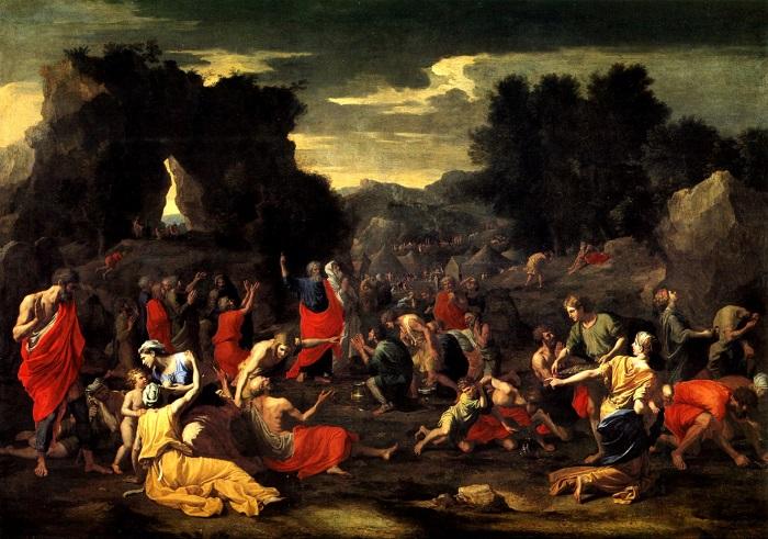 """Nicolas Poussin, """"La caduta della manna"""" (1639, Museé du Louvre, Parigi)"""