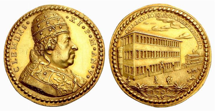 Rarissima medaglia in oro (mm 41) di papa Clemente XI Albani per i nuovi edifici dell'Annona