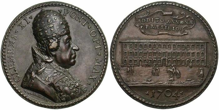 Lo stesso edificio, dal lato della facciata principale, in un'altra medaglia in bronzo (mm 51) del 1704