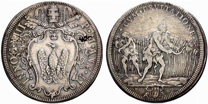 """""""CVM EXVLTATIONE""""i mietitori raccolgono il frutto della terra su questa mezza piastra in argento (mm 37) di Innocenzo XIII"""