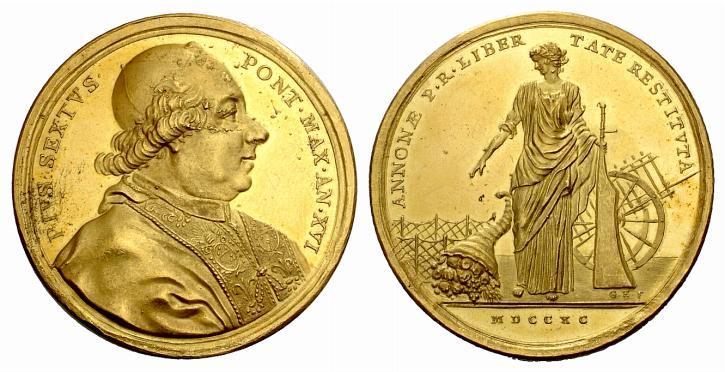 Bellissima la medaglia di Pio VI con al rovescio un'Annona classica ed elegante (oro, mm 43)
