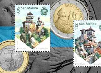 """fc84565f1a Castelli in francobollo e monete """"a braccetto"""" per San Marino"""