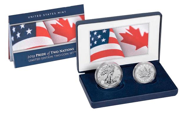 Elegante e basato sui colori delle rispettive bandiere, ecco il packaging della coppia di once in argento che celebrano l'amicizia USA-Canada