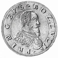 Giulio Cesare Gonzaga, principe di Bozzolo, ritratto al dritto della moneta