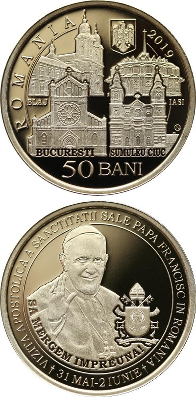 I 50 bani di Romania su cui papa Francesco, per la prima volta dal 2016, è tornato in moneta