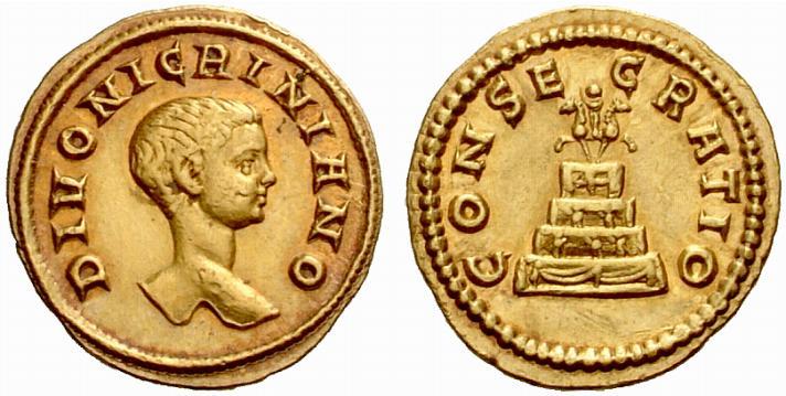 Giovanissimo nei tratti, quasi commovente questo ritratto di Nigriniano sull'aureo di consacrazione, campione di rarità fra le monete imperiali romane