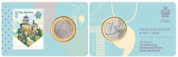 La Torre Cesta in dentelli e in tondello sulla stamp & coincard n. 3 2019 di San Marino