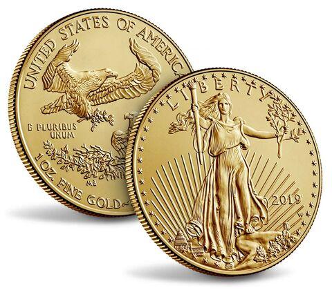 Lady Liberty e l'aquila nazionale per l'oncia USA in oro versione FdC e millesimata 2019