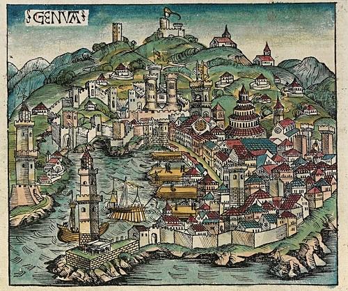 Veduta di Genova in epoca tardo medioevale: nel capoluogo ligure opera il potentissimo Banco di San Giorgio